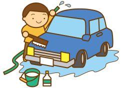 洗車する男性のイラスト