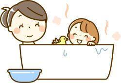 親子でお風呂に入るイラスト