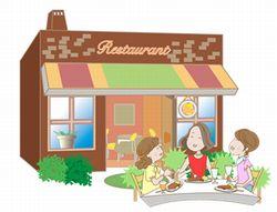 レストランで食事をする女性のイラスト