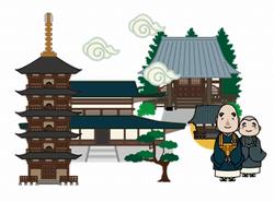 寺院と坊主のイラスト